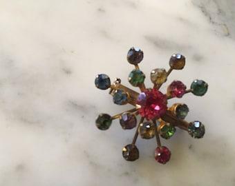 Gold Tone Rhinestone Star Brooch Pin