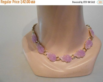 60% OFF Lilac Foliage in May - 1950s Lilac Lavender Lucite Leaves on a Choker Necklace