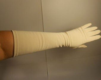 Beige is Not So Boring - Vintage 1950s Warm Beige Elbow Length Long Gloves - 6 1/2