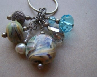Sterling Silver Dangle Charm Glass Beads Necklace