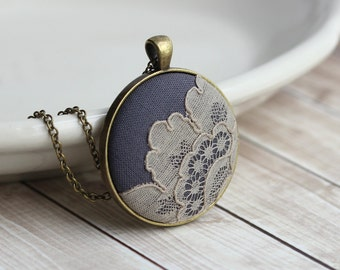 Art Nouveau Necklace, Beige Lace Jewelry, Cotton, Anniversary Gift For Women, Unique Necklace, Gray Bridesmaid Gift, Victorian Wedding
