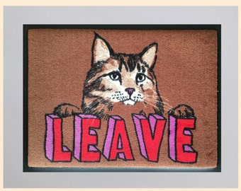 Leave Cat Welcome Mat