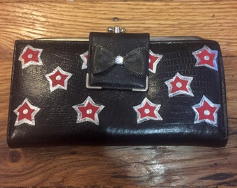 Hand Painted Leather Wallet, One of a Kind
