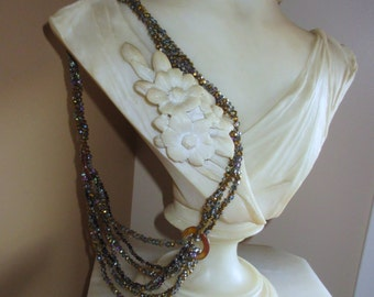 Iridescent Bronze Crystal Bead Festoon, One of A Kind