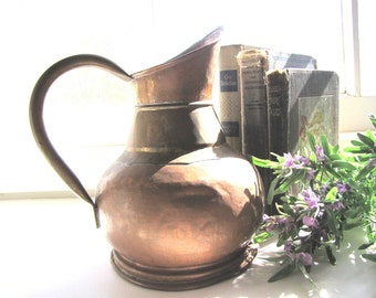 Antique Copper Brass Pitcher Jug French Farm House Dinanderie Veritable Belgium from AllieEtCie