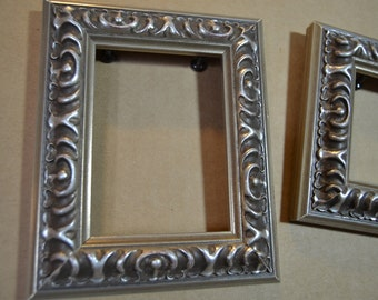 Silver Ornate ACEO Picture Frames - Antique Silver Ornate Frames -  Pair of ACEO Photo Frames