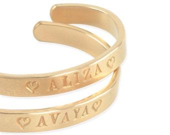 Gold Cuff Bracelet, 14k, for baby, girls, tween, teen, hand stamped engraved, name bracelets, keepsake, 1st birthday, personalized gift