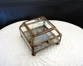 Vintage Brass and Glass Etched Box with Mirror