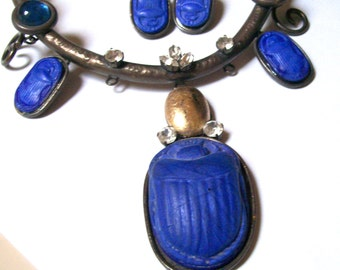 Vintage THEATER Prop-EGYPTIAN BLUE Glass Scarab Necklace Set w/Earrings-c1980s