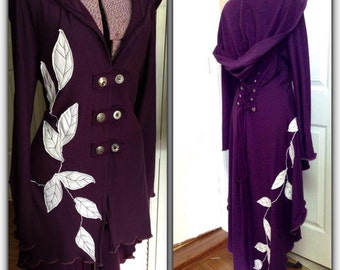 Special listing leaf applique Corset laced bamboo jacket hoodie evening elegant