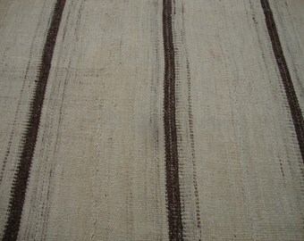 "In Black & White / Vintage Konya - Karapinar / Turkish Striped Kilim / 4'7""x6'5"" / 135x197cm"