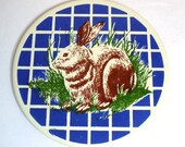 1970s Rabbit Trivet, Round Mid State Ceramic Bunny Tile Trivet, Blue, Green, Brown