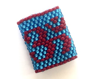 Om Dreadlock Bead - Sleeve For Large Dreads in Red and Blue - Ring size 3.5
