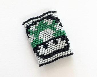 Mario Mushroom Dreadlock Beads - Insprired by Old School Nintendo - Green One Up Mushroom