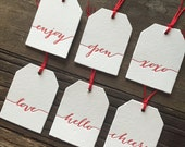 Letterpress gift tags for all gifts, category gift tags, holiday letterpress - Set of 6