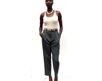 Dark sage green tapered high waist high rise trousers 90s 1990s VINTAGE