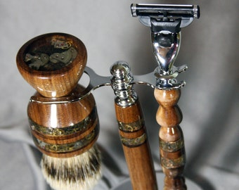 American Walnut Shaving Kit with Copper Inlay Steampunk Design Super Silvertip Badger Hair Brush Wet Shaving Shaving Kit Father's Day Gift