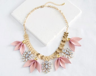 Leather Petals Statement Necklace | blush pink leather, rhinestone, gold