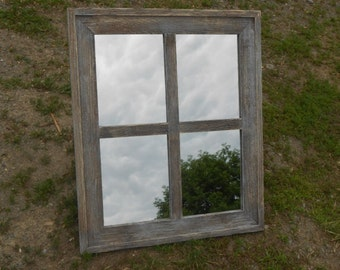 Weathered Vintage Distressed Barn Board Wood Mirror 22x26