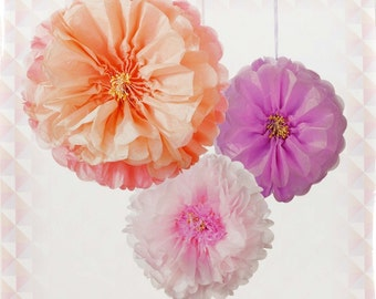 "Flower Tissue Pom Poms set of Three  16"" 14"" and 12"""