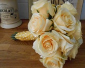 Pale Yellow Rose Silk Spring Wedding Easter Mothers Day or Special Occasion Gift Bouquet or Floral Arrangement OOAK ready to ship