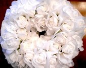 White Silk Rose and Rosebud Wreath for Special Occasion Gift Home Decor or Chapel Wedding Door OOAK