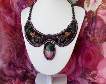 Necklace Embroidered Bead Embroidery Pink  black Gemstone Necklace Cabochons agate jasper