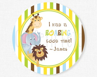 Safari Favor Tags, Boys Birthday Tag, Jungle Party Tag, Zoo Party Favors, Personalized