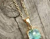 Aqus Druzy Pendant-gold plated Aqua Druzy Necklace-Green Druzy Agate