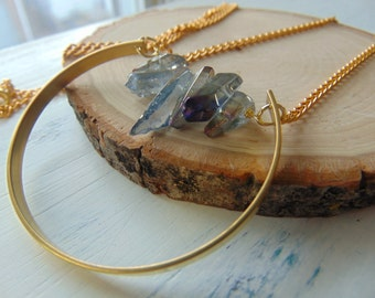 Geometric Circle Necklace,Quartz crystal necklace with a brass chain - trendy - jewellery - circle - geometric - statement piece