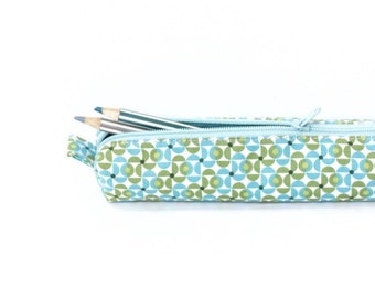 Minty Green Retro Pencil Case, Zipper Cotton Pencil Case, Small Cosmetic Pouch, Box Pencilcase