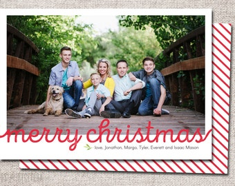 "Photo Christmas card, Christmas card, Holiday card, personalized christmas card: PRINTABLE (""Merry Christmas"" Christmas custom card)"