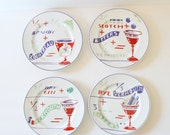 BLOWOUT 40% off sale Vintage Drink Recipe Rosanna Salad Plates - Set of 4 - Rob Roy, Side Car, Manhattan, Martini