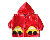 BLOWOUT 40% off sale Vintage 80s Boogie Baby Vinyl Red Rain Coat - 12 Months Boy Girl, Childrens - Yellow Car Design, Made in USA