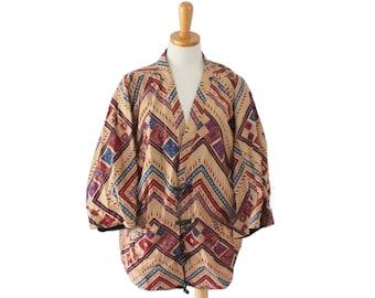 Vintage 90s Boho Pattern Lined Cotton Jacket // Asiacraft Textiles // Women One Size fits Many
