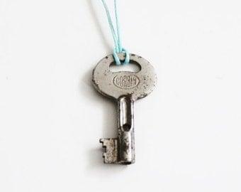 50% half off sale // Vintage CORBIN GJ1 Mini Skeleton Key Upcycled Necklace on Waxed Aqua Blue Cord