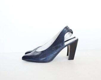30% off sale // Vintage 80s ROBERT CLERGERIE Designer Stacked Heels - Navy Blue Leather - Women 6M - Slingback