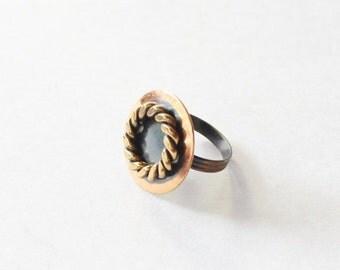 BLOWOUT 40% off sale Vintage 70s Nautical Circle Copper Tone Adjustable Ring - preppy, bronze, seaside