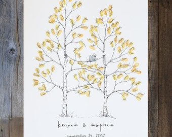 Wedding Guest Book Alternative, thumbprint tree, Twin Aspen Tree, Fingerprint Tree, unique guest book, Wedding Guestbook, Rustic Wedding