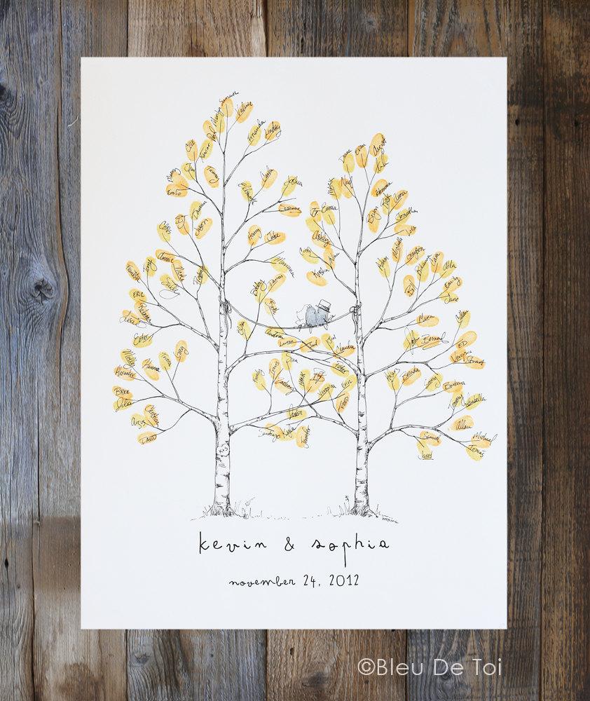 Guest Book Alternative Thumbprint Wedding Tree Fingerprint: Wedding Guest Book Alternative Thumbprint Tree Twin Aspen