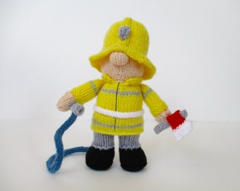 Fireman Fred doll knitting pattern