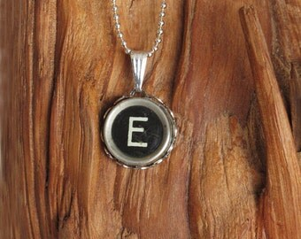 The Letter E Vintage Typewriter Key Pendant Necklace