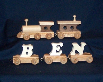 3 to 8 Letter Personalized Wooden Name Train with Natural wood letters--Order today and  receive in 5 days