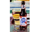 PBR Beer Art Print, Pabst Blue Ribbon, Man Cave Beer Poster, Gift for Beer Drinker, Gift for Boyfriend, 21st Birthday Gift, Gift for Brother