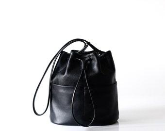 black leather bucket bag OPELLE Bundle handbag