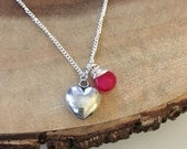 Large Silver Heart and Hot Pink Stone Charm Necklace, Valentines Gift, Romantic Jewelry Gifts