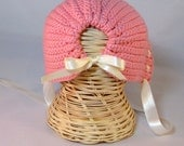 Crochet baby bonnet with satin ribbon trim newborn infant toddler