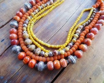 African Necklace, Statement Necklace, Unique Necklace, Multi Strand Necklace, Orange Necklace, African Beads, Agate Beads