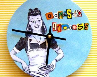 Small wall clock. OOAK clock. Clock with words. Kitchen clock. Retro clock. Clock for a cook.  Domestic goddess.