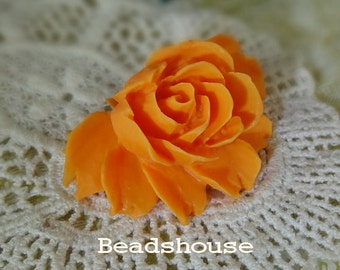 20%off 34-00-CA  2pcs Hight Quality Cabbage Rose Cabochon - Orange Hue